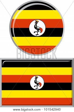 Ugandan round and square icon flag. Vector illustration.