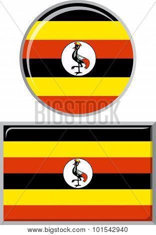 Ugandan round and square icon flag. Vector illustration.