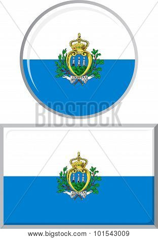 San Marino round and square icon flag. Vector illustration.