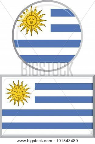 Uruguayan round and square icon flag. Vector illustration.
