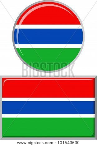 Gambian round and square icon flag. Vector illustration.