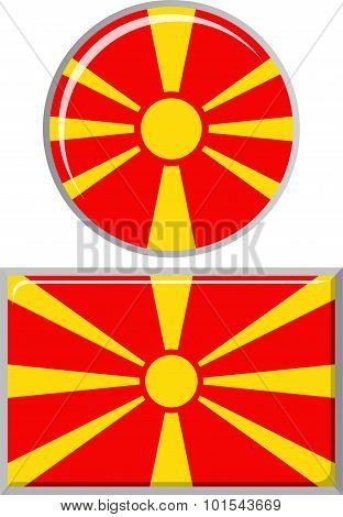 Macedonian round and square icon flag. Vector illustration.