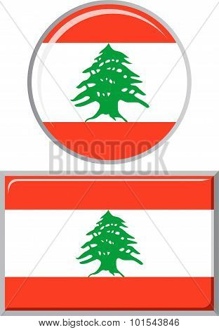 Lebanese round and square icon flag. Vector illustration.