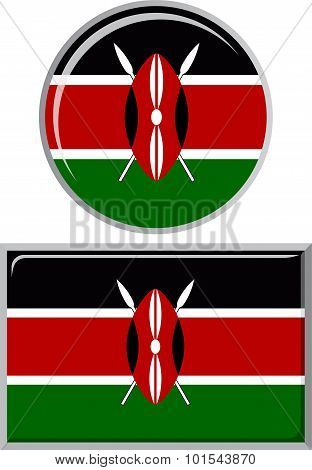 Kenyan round and square icon flag. Vector illustration.