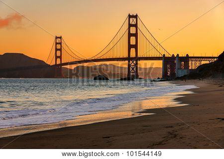 Sunrise at Golden Gate Bridge from Baker Beach