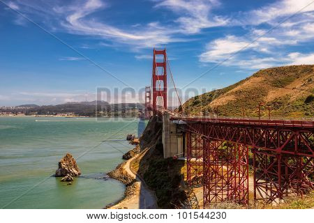Golden Gate bridge seen from popular Vista Point, Sausalito