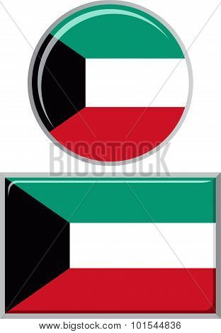 Kuwait round and square icon flag. Vector illustration.