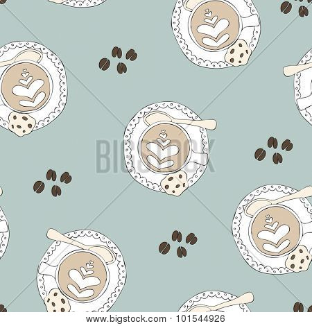 Seamless coffee break cappuccino coffee beans hipster lovers art illustration pattern background in vector pastel blue