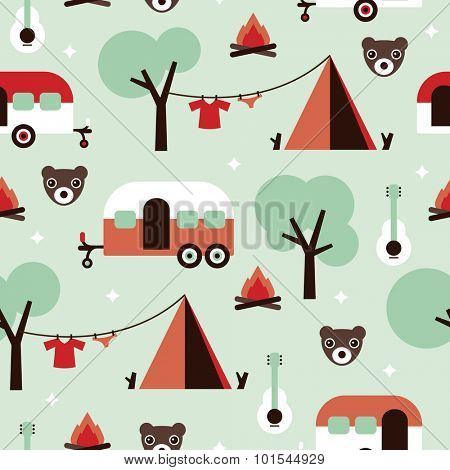 Seamless kids canadian woodland camping grizzly bears and caravan camper van illustration background pattern in vector