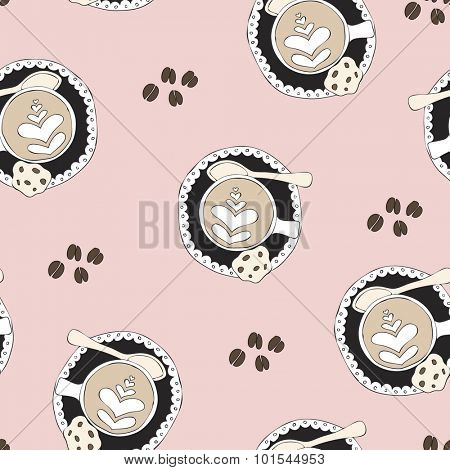 Seamless coffee break cappuccino coffee beans hipster barista lovers art illustration pattern background in vector pastel pink