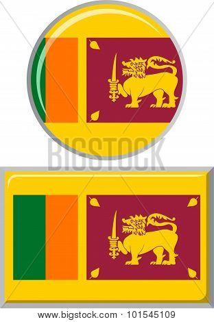 Sri Lanka round and square icon flag. Vector illustration.