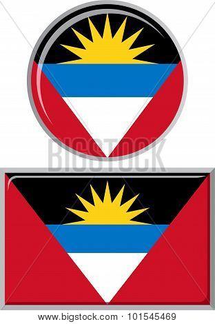 Antigua and Barbuda round, square icon flag. Vector illustration.