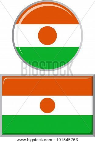 Niger round and square icon flag. Vector illustration.