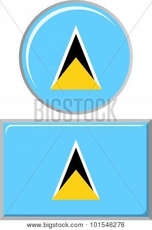 Saint Lucia round and square icon flag. Vector illustration.