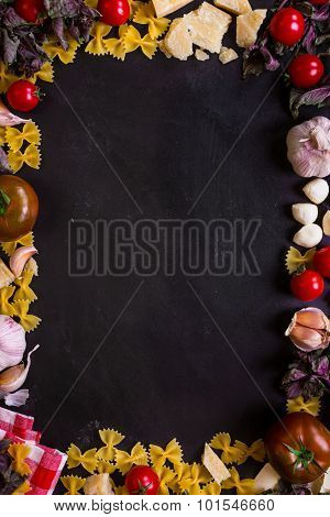 Italian Food Background With Ingredients