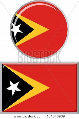 Timor-Leste round and square icon flag. Vector illustration.