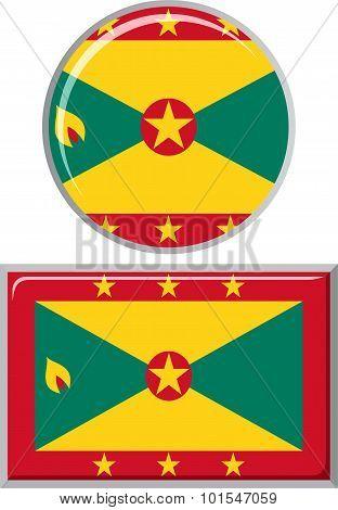 Grenada round and square icon flag. Vector illustration.
