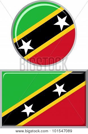 Saint Kitts and Nevis round, square icon flag. Vector illustration.