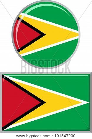 Guyana round and square icon flag. Vector illustration.