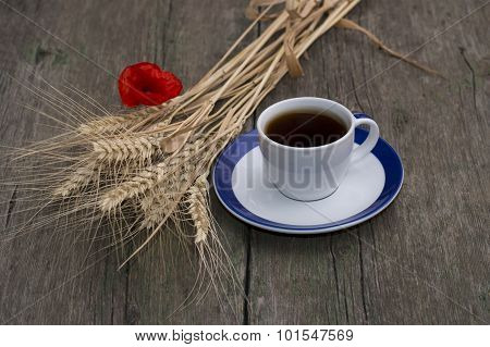 Cup Of Black Coffee, Bunch Of Wheaten Ears And Flower Of Poppy