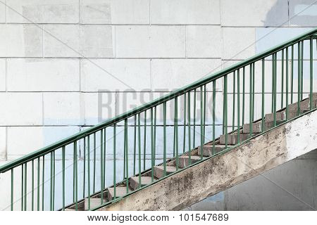 Urban Stairway With Green Metal Railings