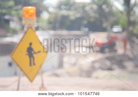Blur Construction Site Road Abstract Background.