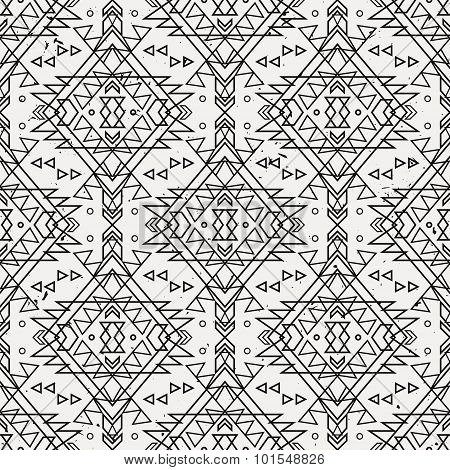 Vector Grunge Seamless Decorative Ethnic Pattern. American Indian Motifs.