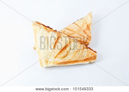 Tuna Puff. Tuna Sandwich On White Background.