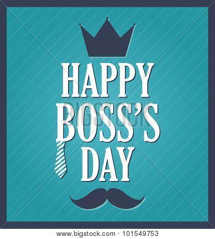 Boss Day greeting template. Blue background, dark blue frame