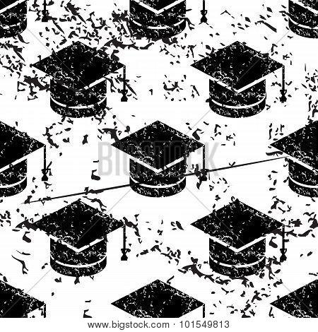 Academic cap pattern, grunge, monochrome