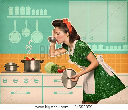 Young Housewife Testing Her Soup In The Kitchen