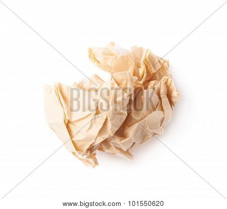 Crumpled ball of brown wrapping paper