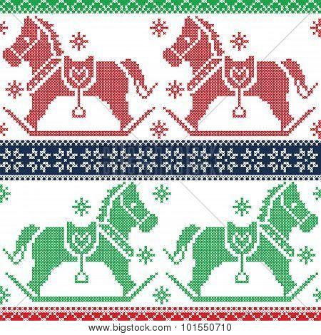green, dark blue , red Merry Christmas Scandinavian seamless Nordic pattern with  rocking dala pony