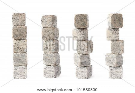 Stack pile of cooling whiskey stones isolated