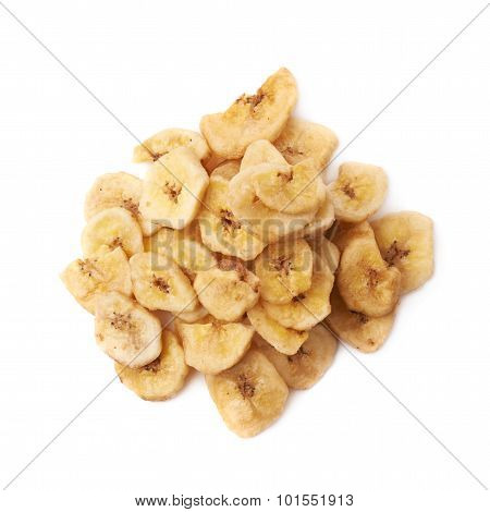 Pile of dried sliced banana snack isolated
