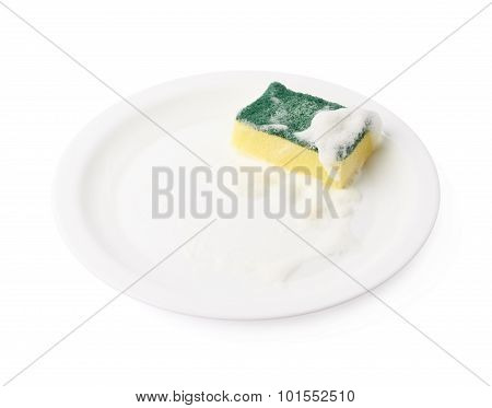 Foam covered sponge over ceramic plate