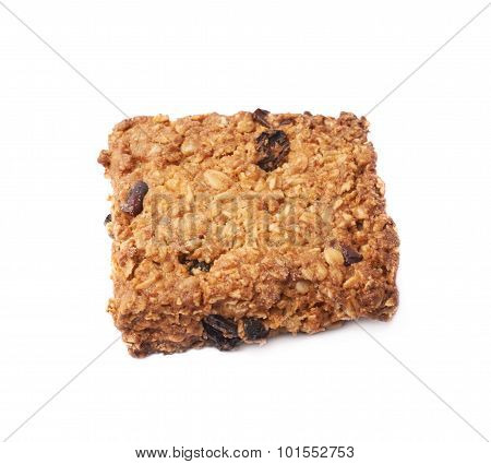 Oatmeal cookie with raisins isolated