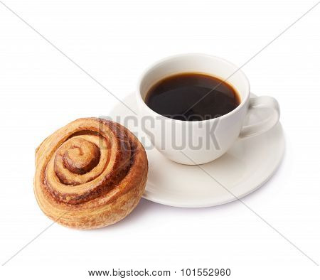 Cup of coffee and pastry composition