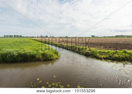 Dutch Polder Landscape Divided By The Water