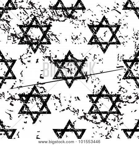 David Star pattern, grunge, monochrome