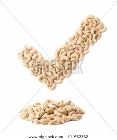 Yes tick mark made of cashew nuts