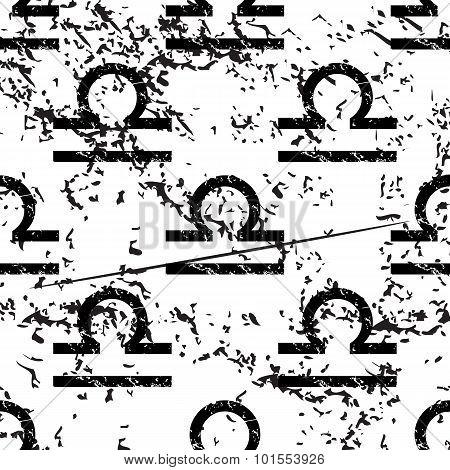 Libra pattern, grunge, monochrome