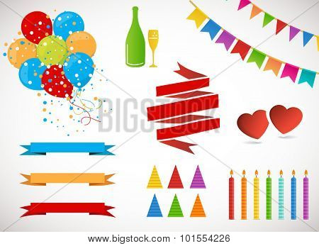 Vector Holiday Set.  Colorful Garlands, Flags, banners, air Balloons, Birthday Candles, Hats and Champagne bottle and glass on white background. Rainbow colors.