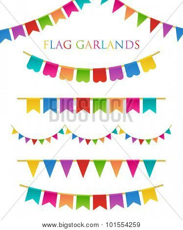 Vector Illustration of Colorful Garlands on white background. Rainbow colors buntings and flags. Holiday set.