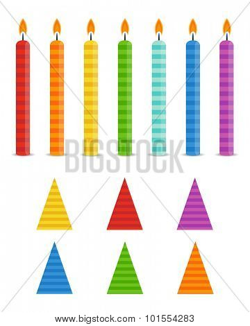 Vector Holiday Set.  Colorful Birthday Candles and Hats  on white background. Rainbow colors.