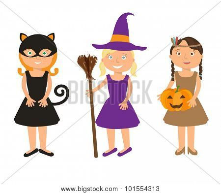 Vector Illustration of cute little girls portraits in halloween costume. Black Cat, Whitch and Pocahontas holding halloween pumpkin in  hands. Halloween trick or treat illustration.