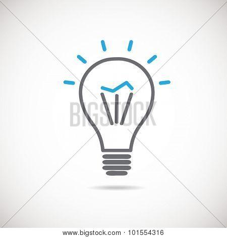 Light bulb vector icon,  idea concept. Vector  lamp sign