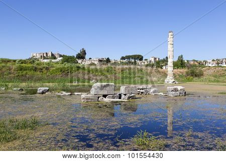 The ruins of the Temple of Artemis. Selcuk. Turkey.