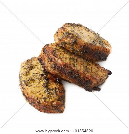 Three marinated beef slices isolated