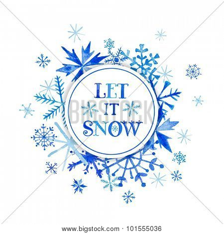 Snow Winter Background - Watercolor Snowflakes - in vector